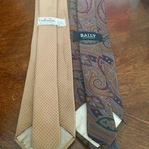 Valentino & Bally Designer VTG Silk Ties Set of 2
